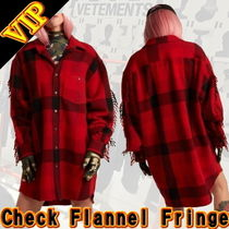 VETEMENTS Other Check Patterns Unisex Wool Street Style Fringes