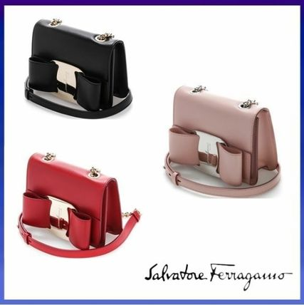 2WAY Plain Leather Elegant Style Shoulder Bags
