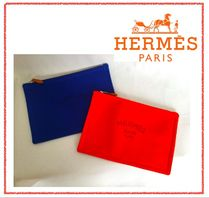 HERMES Yachting Unisex Canvas Pouches & Cosmetic Bags
