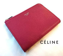 CELINE Zipped Bi-color Plain Leather Coin Purses