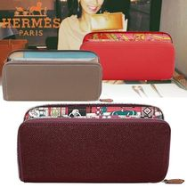 HERMES Silk In Unisex Calfskin Blended Fabrics Plain Long Wallets