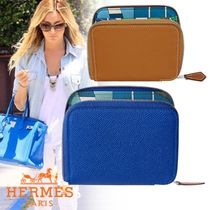 HERMES Silk In Unisex Calfskin Blended Fabrics Plain Accessories