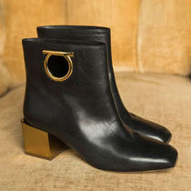 Salvatore Ferragamo Plain Leather Chunky Heels Ankle & Booties Boots