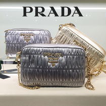 PRADA Blended Fabrics 2WAY Chain Plain Leather Party Style