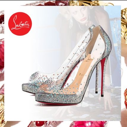 3197407066 ... Christian Louboutin Stiletto Open Toe Pin Heels Party Style PVC  Clothing With Jewels ...