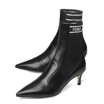 FENDI Leather Pin Heels Mid Heel Boots