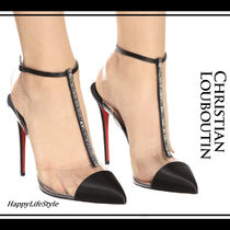 Christian Louboutin Nosy Blended Fabrics Plain Pin Heels PVC Clothing With Jewels