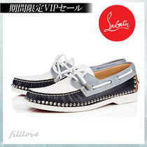 Christian Louboutin Studded Street Style Plain Leather Deck Shoes