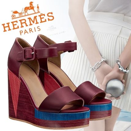 91c2e948fdbe ... HERMES Platform   Wedge Open Toe Platform Plain Leather Elegant Style  ...