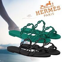 HERMES Open Toe Casual Style Plain Sandals