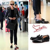 Christian Louboutin Plain Toe Casual Style Plain Leather Loafer Pumps & Mules