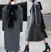 Wool Bi-color Plain Long Oversized Elegant Style
