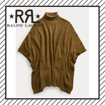 RRL Casual Style Wool Dolman Sleeves Plain Long Gowns Khaki
