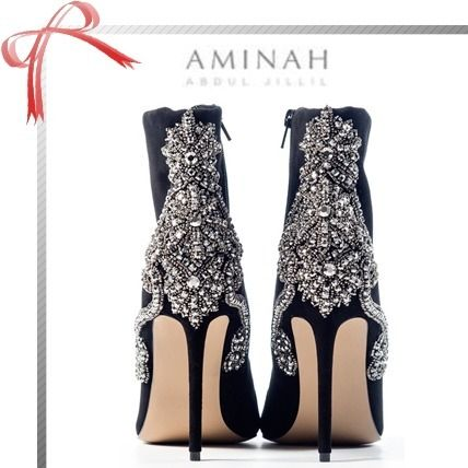 Studded Plain Pin Heels With Jewels Elegant Style
