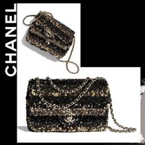 CHANEL Stripes Chain Shoulder Bags