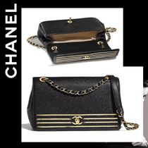 CHANEL Calfskin Chain Plain Shoulder Bags