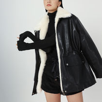 Casual Style Faux Fur Blended Fabrics Street Style Bi-color