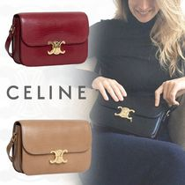 CELINE Plain Leather Elegant Style Bold Shoulder Bags