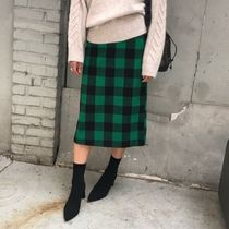 Pencil Skirts Gingham Casual Style Wool Medium Midi Khaki