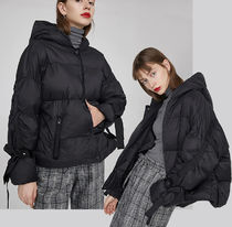 Wool Blended Fabrics Plain Medium Oversized Parkas