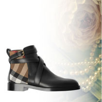 Burberry Other Check Patterns Round Toe Leather Ankle & Booties Boots