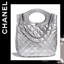 CHANEL Casual Style Calfskin 2WAY Chain Plain Totes