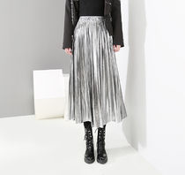 Casual Style Enamel Pleated Skirts Street Style Plain Long
