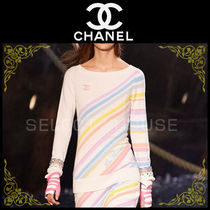 CHANEL Stripes Cashmere Long Sleeves Medium Cashmere