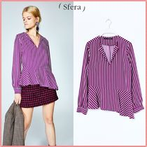 Sfera Stripes Peplum Long Sleeves Shirts & Blouses