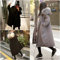 Street Style Bi-color Plain Long Oversized Khaki Parkas