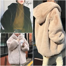 Short Street Style Plain Oversized Cashmere & Fur Coats