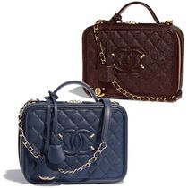CHANEL Calfskin Vanity Bags Chain Elegant Style Bold Bags