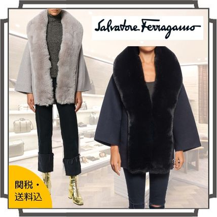 Fur Blended Fabrics Bi-color Plain Medium Elegant Style