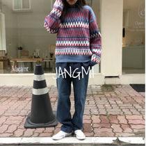Crew Neck Cable Knit Casual Style Wool Long Sleeves Knitwear