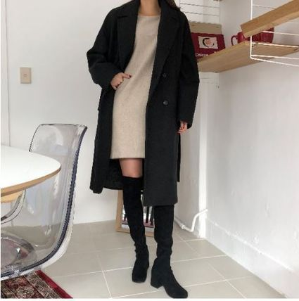 Casual Style Wool Plain Long Chester Coats
