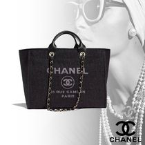 CHANEL Casual Style Nylon Chain Plain Totes