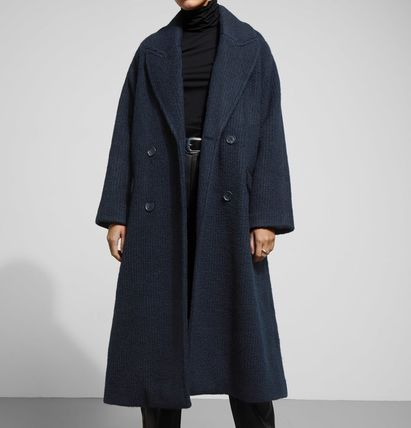 Casual Style Wool Plain Long Oversized Chester Coats