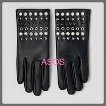 ASOS Faux Fur Studded Leather & Faux Leather Gloves