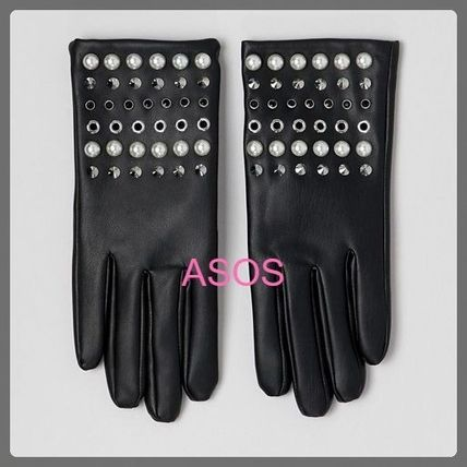 ASOS Leather & Faux Leather Faux Fur Studded Leather & Faux Leather Gloves