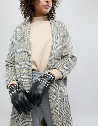 ASOS Leather & Faux Leather Faux Fur Studded Leather & Faux Leather Gloves 2