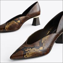 Uterque Animal Print Leather Court Shoes with Wooden Heels