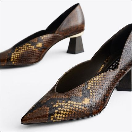 Animal Print Leather Court Shoes with Wooden Heels