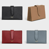 CELINE Strap Plain Leather Card Holders