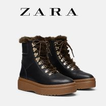 ZARA Platform Mountain Boots Round Toe Casual Style Bi-color