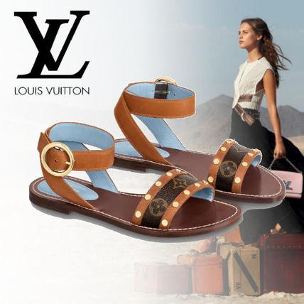 Monogram Open Toe Casual Style Leather Sandals