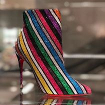 Christian Louboutin So Kate Stripes Suede Pin Heels Elegant Style Ankle & Booties Boots