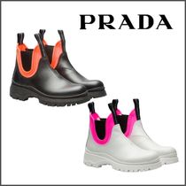 PRADA Round Toe Rubber Sole Blended Fabrics Bi-color Plain Leather