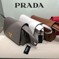 PRADA 2WAY Plain Leather Elegant Style Shoulder Bags