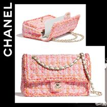 CHANEL ICON Other Check Patterns Blended Fabrics 2WAY Chain