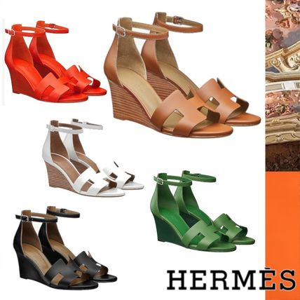 d53d8c67dbde HERMES 2019 SS Open Toe Plain Leather Elegant Style (H172196Z 6Q400 ...